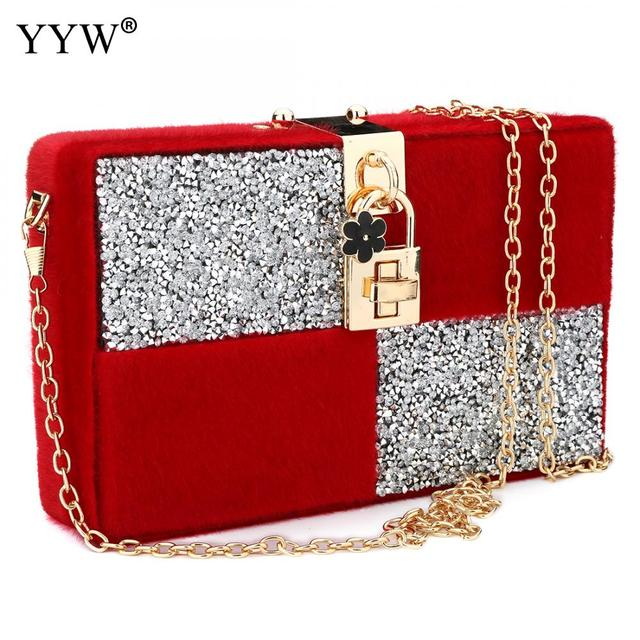 Red Geometric Clutch Bag For Women Brand Luxury S Velvet Clutches Handbags Evening Party Lady
