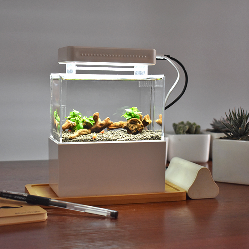 Mini Plastic Fish Tank Portable Desktop Aquaponic Aquarium Betta Fish Bowl with Water Filtration LED Quiet