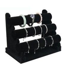 Bincoco 3 capas accesorios de la joyería soporte de exhibición del brazalete pulsera de la joyería soporte de exhibición estante pavanas a cuadros de recepción para tienda
