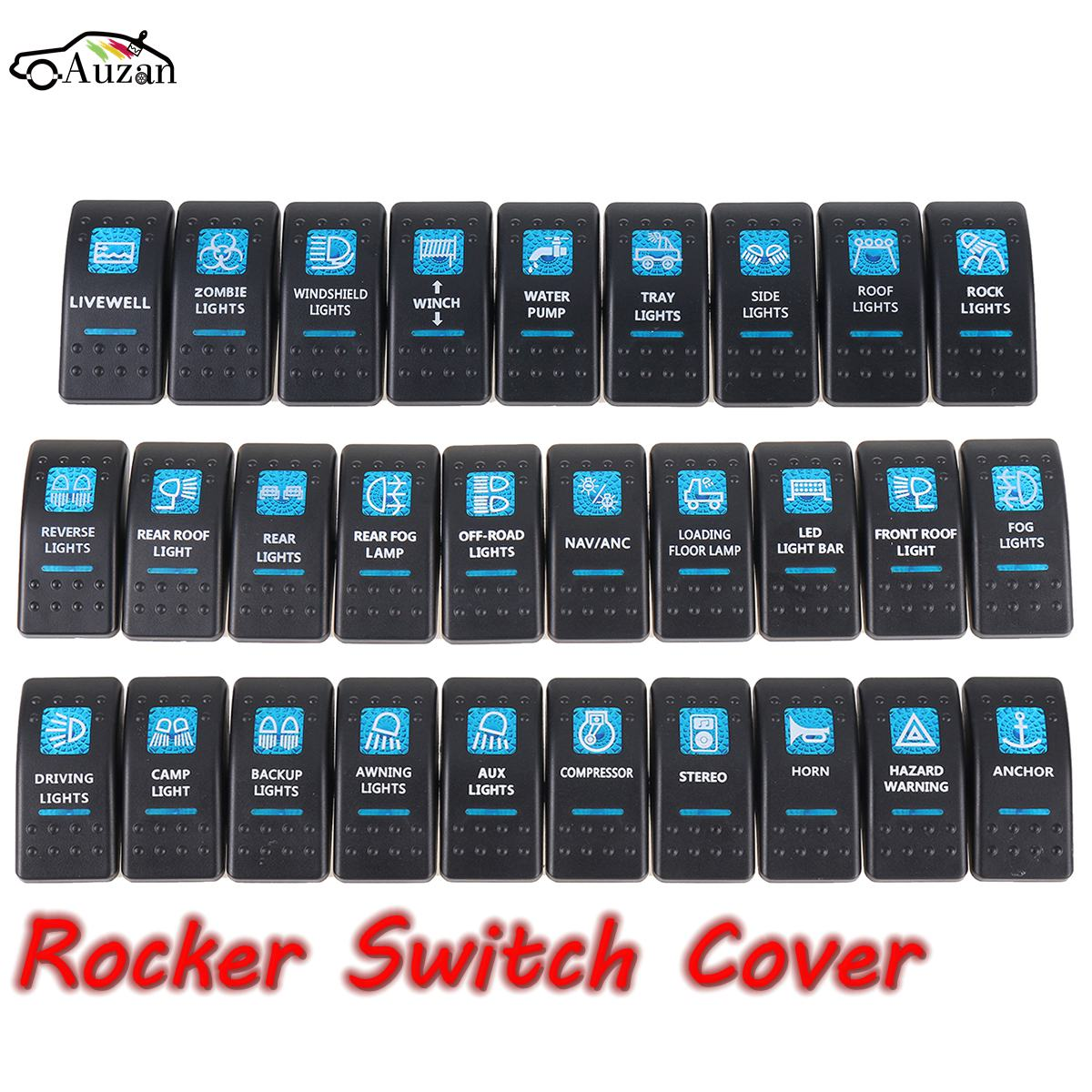 1pcs Boat Car Truck Carling Rocker Switch Covers Cap Blue Window Labeled Led Arb Rocker Switch Cover Cap