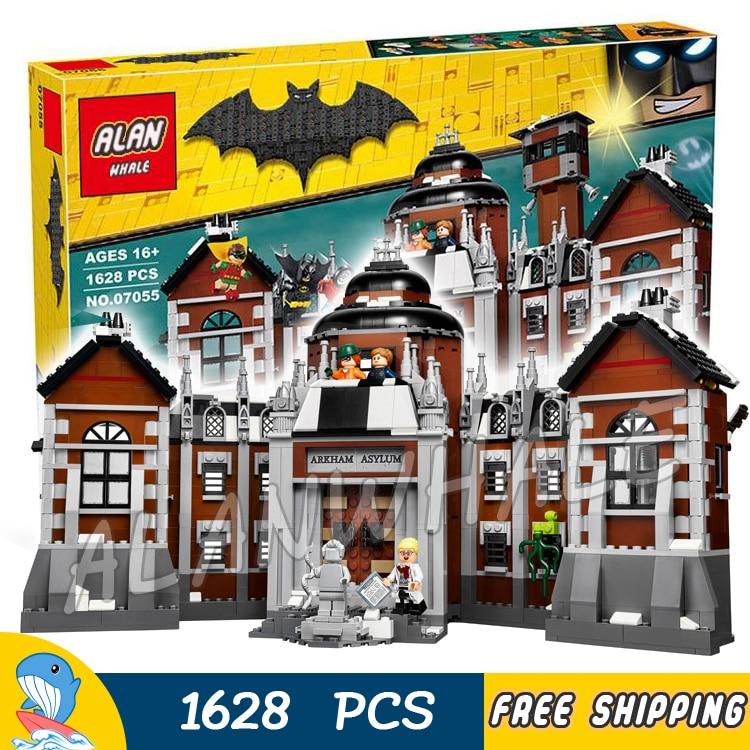 1608pcs Super Heroes Batman Movie Arkham Asylum Madhouse 07055 Model Building Blocks Assemble Toys Bricks Compatible with Lego ye 77021 building blocks super heroes avengers dino world dinosaur model bricks assemble toys for children kids gift