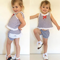 Bobo Choses Fashion Kids Girl Summer Striped Clothes Set 2 pcs Navy style Top + Shorts Suit Girls Summer Casual Style Clothes