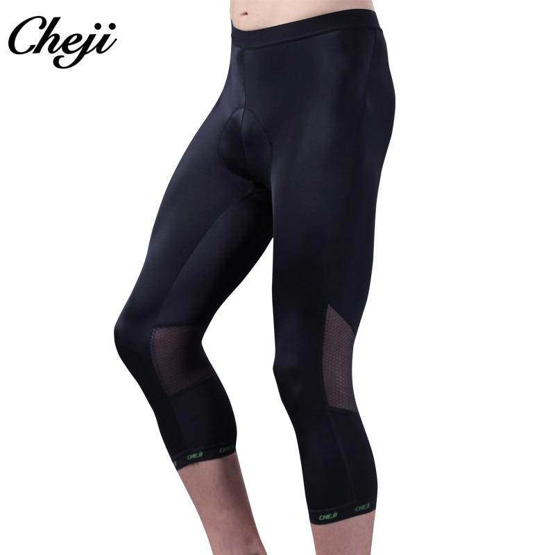 Cheji 2018 Summer Mtb road Bike BIB Shorts Men Ciclismo Bicycle Long Pants Padded Black 3/4 Cycling Pants S-XXXL xixu 3 номер xxxl