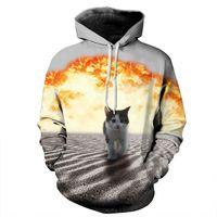 Autumn Winter Fashion Cap Hoodies Men Long Sleeve Pullovers Print Sand Cat Casual Hoody 3d lovely Sweatshirt Plus S-6XL R429