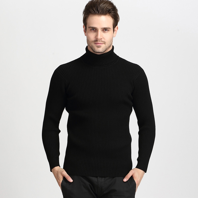 Sweater Men Cashmere Knitwear Pull Turtleneck Thick Winter New Warm Classic Black Homme