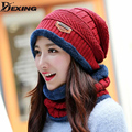 [Dexing]hot selling 2pcs  ski cap  and scarf  cold  warm  leather  winter hat for women men Knitted Beanies hat Bonnet