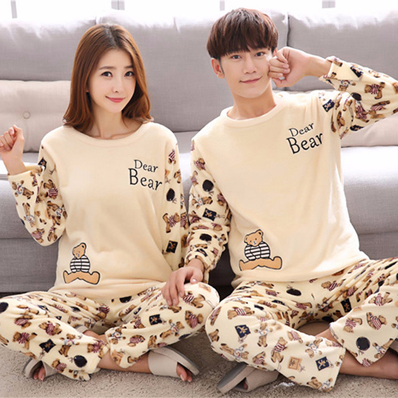 Couples Winter Thick Warm Flannel   Pajama     Sets   for Women Long Sleeve Coral Velvet Pyjama Men Cute Cartoon Sleepwear Home Clothes