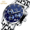 2017 LUXURY Men Business Top Brand Silver Steel Quartz-Watch Chronograph Luminous Date Clock Men's Fashion Casual Wristwatches
