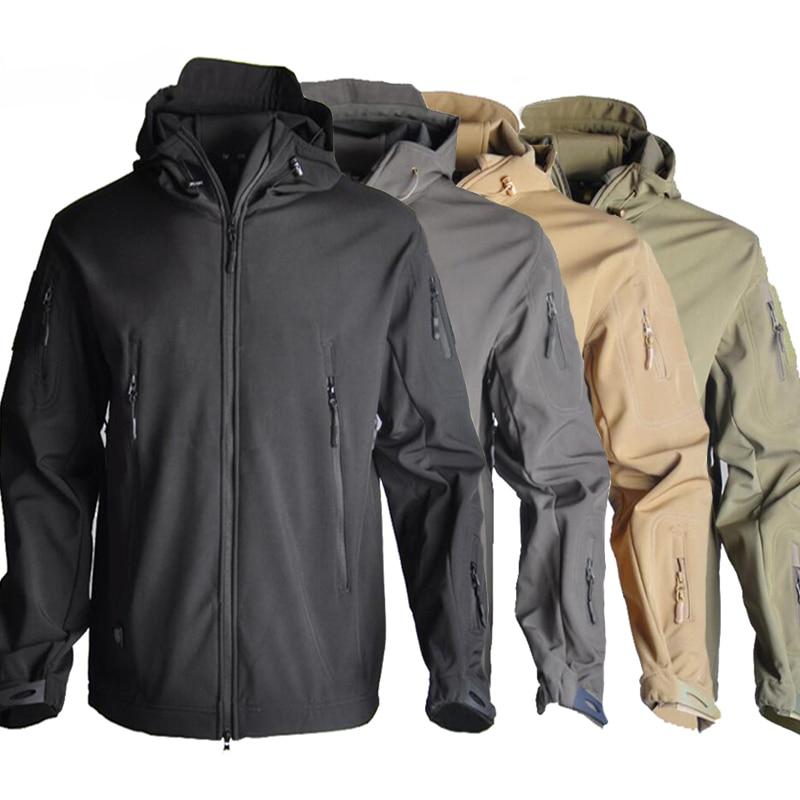 Hot Sale  Softshell Sharkskin Tactical Men Jacket Waterproof Hooded Windbreaker Coat Army Jacket 12 Colors