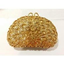 8350GD gold Crystal Flower Floral Bridal Party hollow Metal Evening purse clutch bag case box handbag
