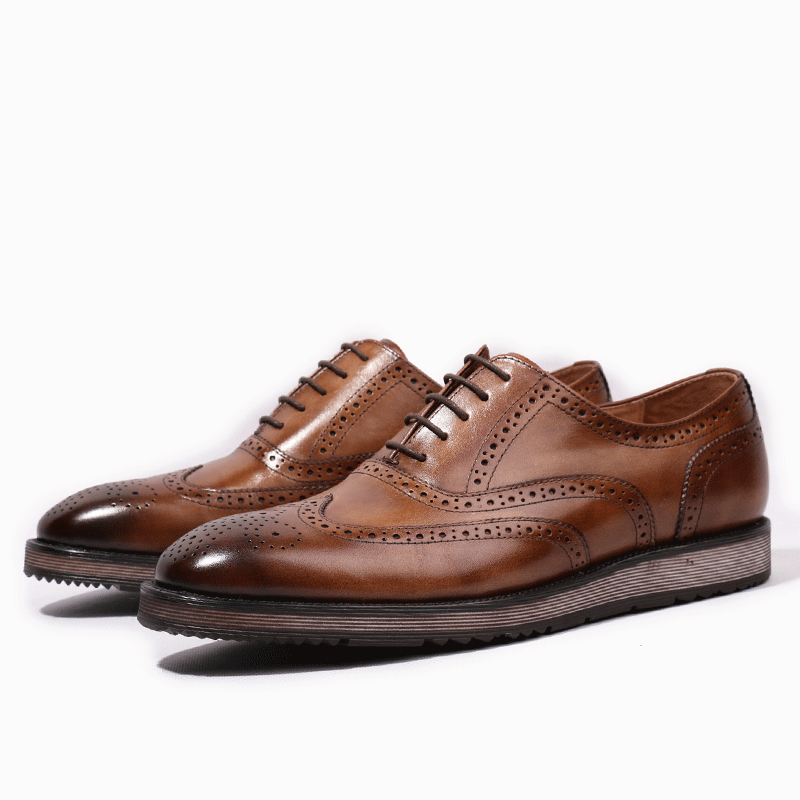 Formal Dress Handmade Genuine Leather Men s Carved Oxfords Round Toe Flat Platform Man Wingtip Brogue