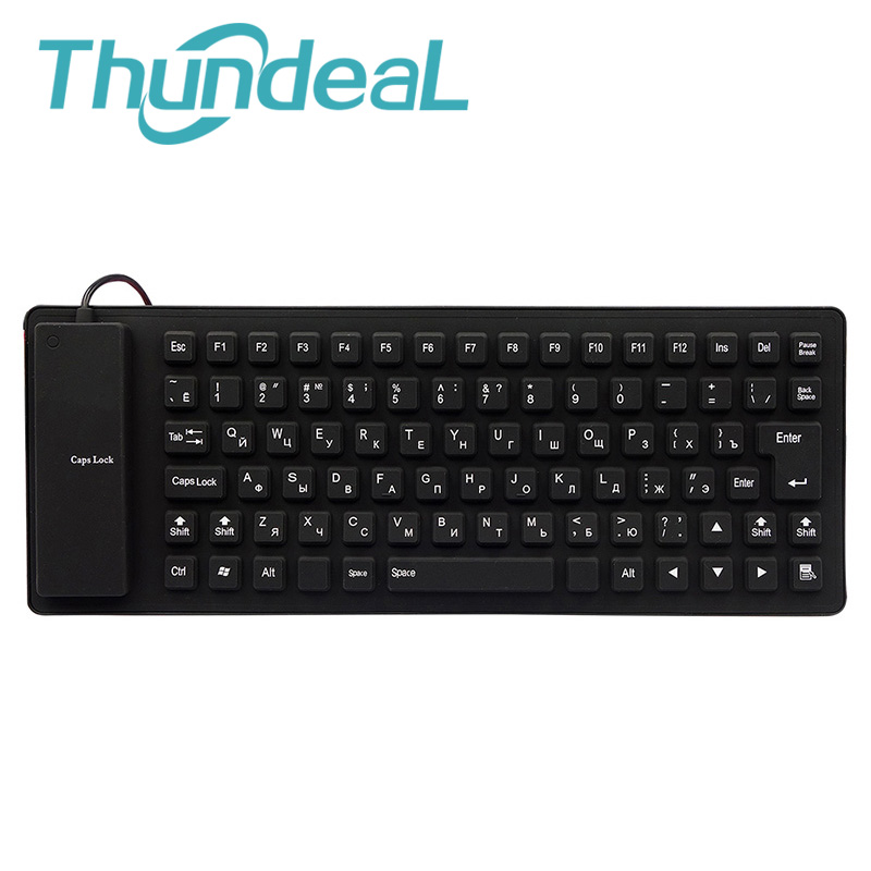 Silence-Keyboard Wired Russian Silicon Flexible Waterproof Laptop-Fold Layout Teclado title=