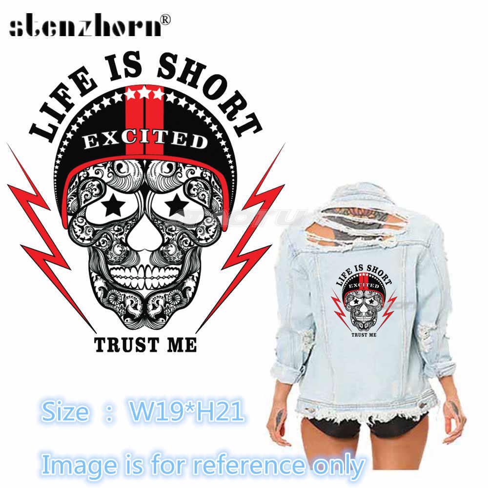 هيكل جمجمة شارة التصحيح الحديد على بقع للملابس نقل الحرارة ل DIY تي شيرت الملابس ل رعاة البقر سترة الكي ملصقا
