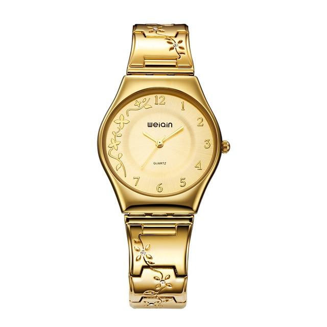 WEIQIN Luxury Brand Golden Women Watches Fashion Ultra thin Quartz Watch Woman E
