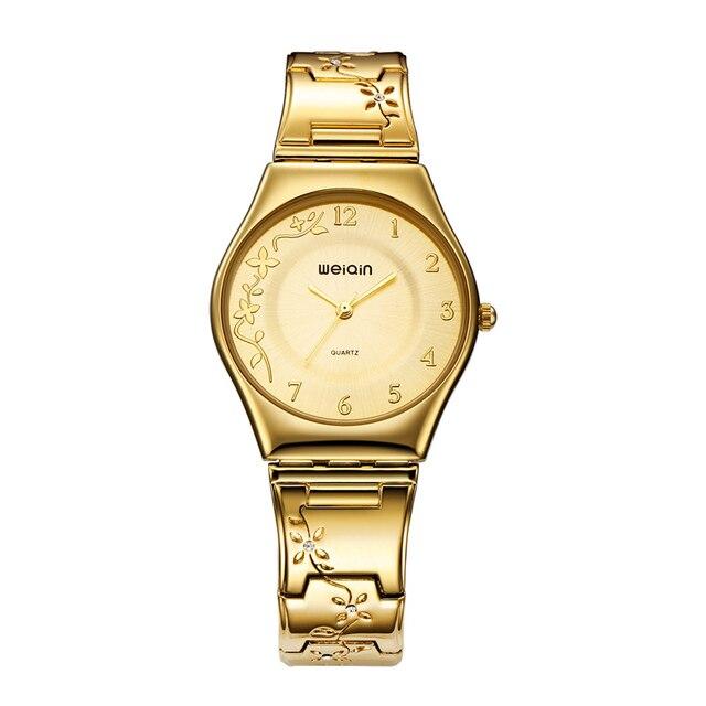 a2cbb46f1d9 WEIQIN Marca de Luxo de Ouro Mulheres Relógios de Moda Ultra fino Relógio  de Quartzo Das