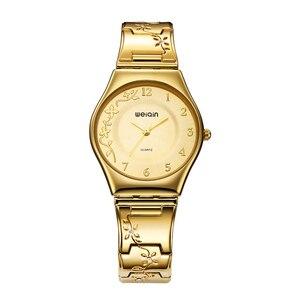 Image 1 - WEIQIN الفاخرة العلامة التجارية الذهبية ساعات النساء أزياء رقيقة جدا ساعة كوارتز امرأة أنيقة فستان السيدات ساعة Montre فام