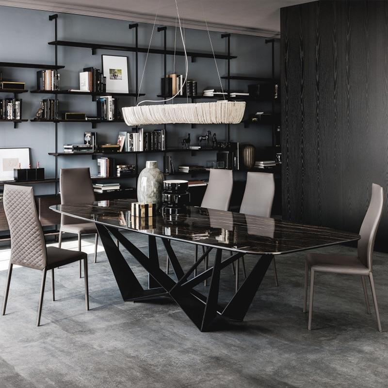 Nordic Marble Dinette Combination Post-modern Minimalist Light Luxury Rectangular Stainless Steel Creative Dinining Table