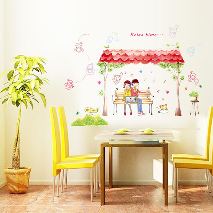 Fundecor] diy home decor new couple under the eaves wall stickers ...