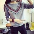 С Коротким рукавом вязать свитер женщин свободные короткими рукавами кисточкой шею свитер куртка