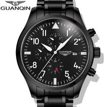 Часы Мужчины 2017 GUANQIN Армия Часы Полный Стальные Спорт Военные Наручные Часы Черный Автоматические Механические часы Люксовый Бренд