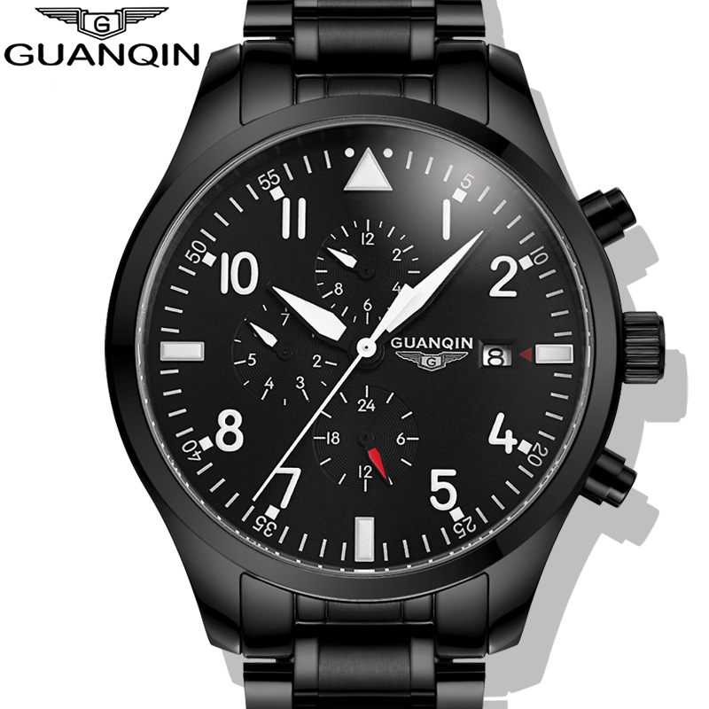 ФОТО Watches Men 2017 GUANQIN Army Watches Full Steel Sport Military Men Wristwatch Black Automatic Mechanical Movement Luxury Brand