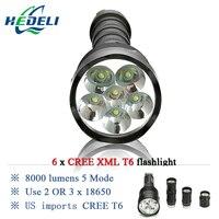 5000 lumen 10000 lumens Powerful Flashlight Removable led flashlight torch 6x CREE XML T6 3x 18650 Rechargeable Battery Portable