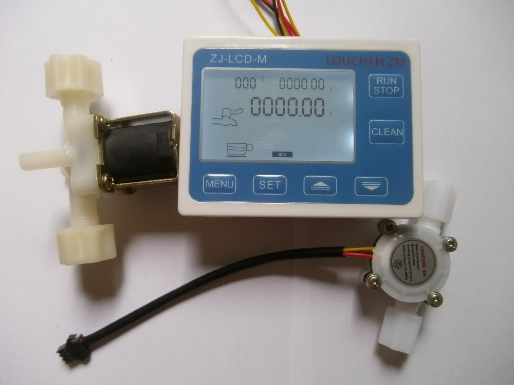 New G1/4 Water Flow Control LCD Display+Flow Sensor Meter+Solenoid Valve Gauge 1 2 built side inlet floating ball valve automatic water level control valve for water tank f water tank water tower