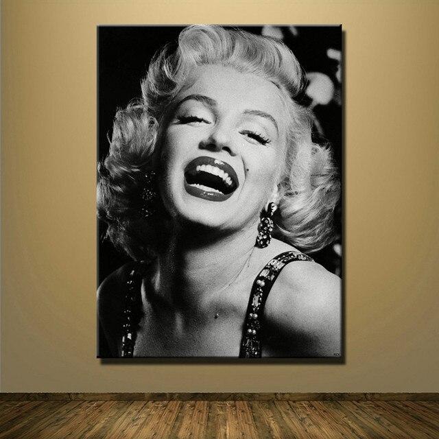 Impresión de lienzo Marilyn Monroe sexy blanco y negro pintura al ...