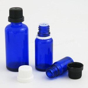 Image 4 - 200 x 5ml 10ML 15ml 20ml 30ml 50ml 100ml Cobalt Blue Mini Glass Essential Oil Bottle With White Black Tamper Evident Cap Reducer
