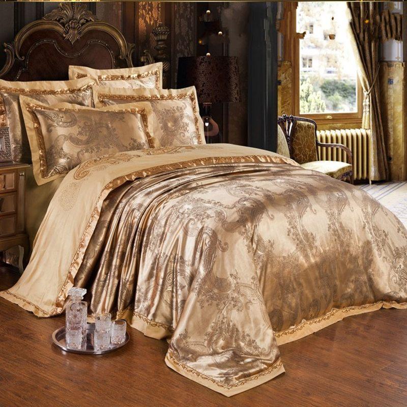 L'europe Jacquard Satin housse de couette roi reine 4/6 pc Brodé literie textiles de maison linge de drap de lit coton literie ensemble de luxe