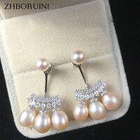 Zhboruiniファッション真珠のイヤリング高品質天然淡水真珠ドロップ形状925スターリングシルバー真珠の宝