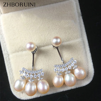 2016 Fashion Pearl Earrings High Quality Natural Freshwater Pearl Drop Shape 925 Sterling Silver Pearl Jewelry