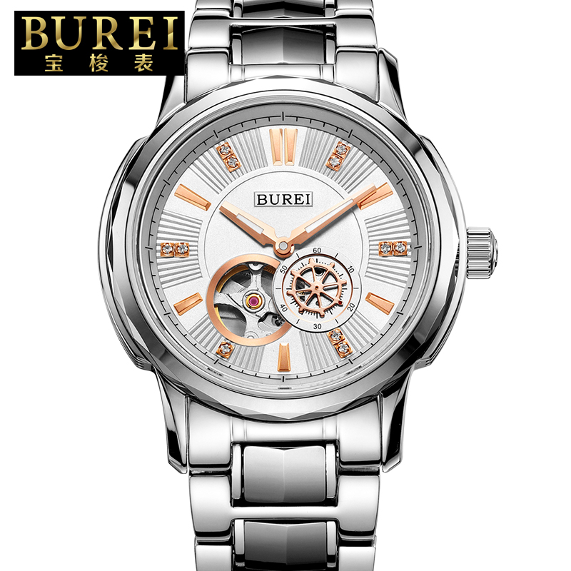 BUREI Business Men Stainless Steel Automatic Mechanical Watch Waterproof Luminous Wristwatches With Premiums Package 5012 tevise men watch black stainless steel automatic mechanical men s watch luminous waterproof watch rotate dial mens wristwatches