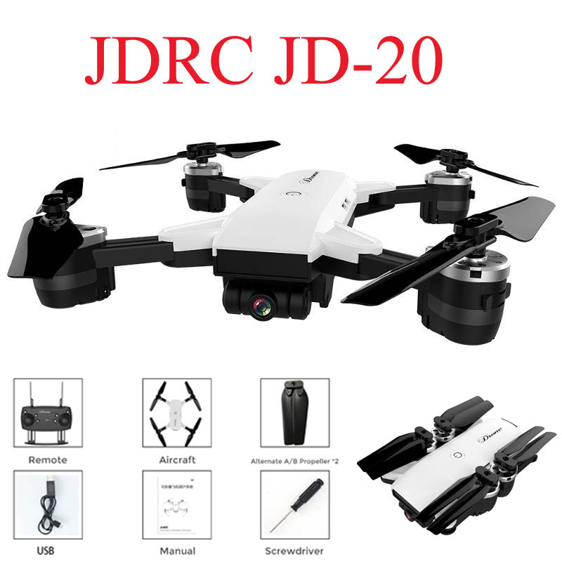 JDRC JD-20 JD20 WIFI FPV Avec 2MP Large Angle Caméra Haute Tenue Mode Pliable RC Quadcopter RTF Selfie Drone VS visuo XS809HW E58