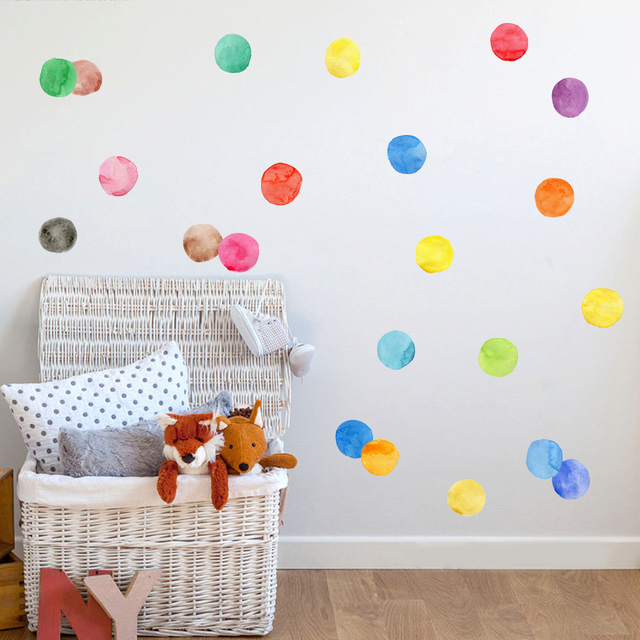 Watercolor Polka Dots Wall Sticker for Kid\'s room wall decal ...