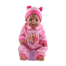 Pink color jumpsuits Doll Clothes Wear fit 18 inch American and 43cm Children best Birthday Gift n430(China)
