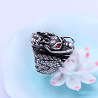 Authentic 925 Sterling Silver Dragon Rings For Men With Garnet Natrual Stone Red Eyes Vintage Punk Rock Mens Fine Jewelry 2