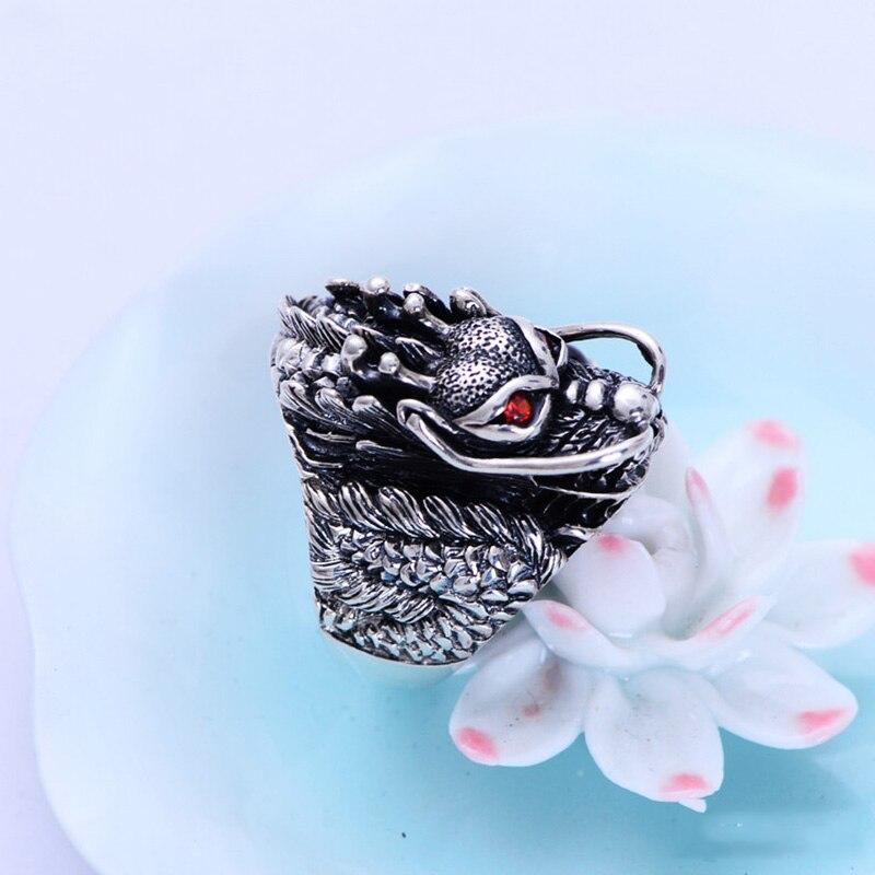 Autentiska 925 sterling silver Dragon Ringar för män med granat - Märkessmycken - Foto 4