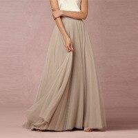 2017 אלגנטי רך טול חצאיות נשים גבוהה מותן בציר אורך רצפת מקסי ארוך חצאית טוטו חצאית Custom Made שושבינה כלה