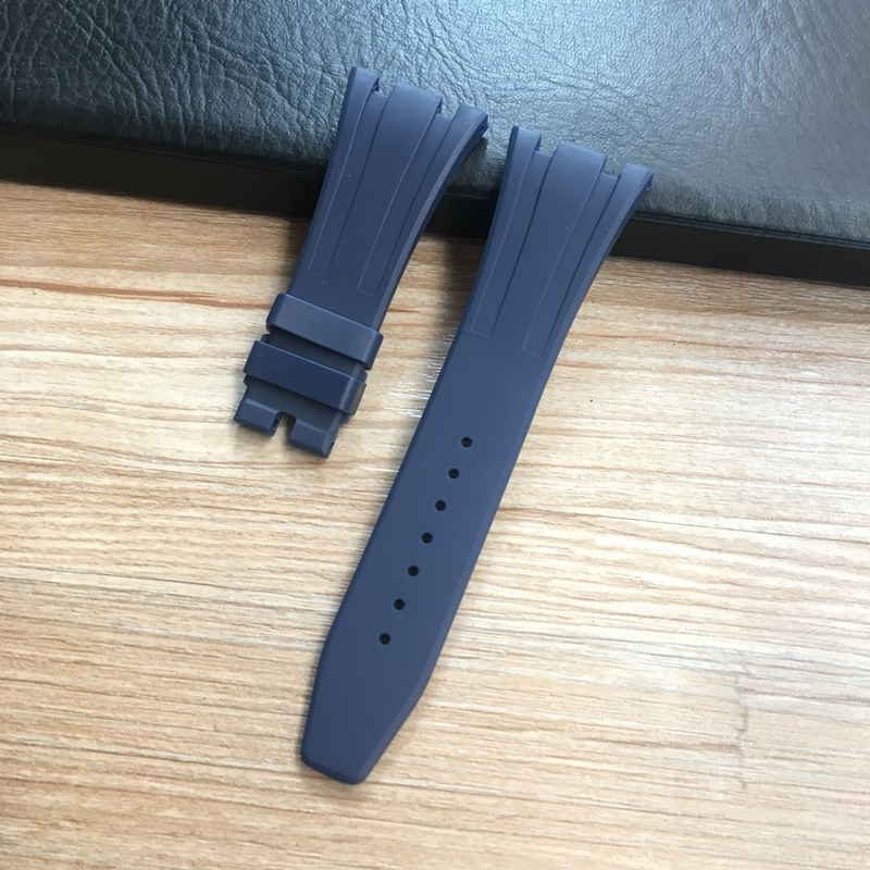 Image 5 - 26mm High Quality Camo Gray White Black Blue Brown Green silicone Rubber Watch Band deployment Clasp For AP  Royal Oak BraceletWatchbands   -