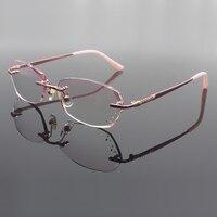 Fashion Eyeglasses 8059 Diamond Trimming Cutting Rimless Eyeglasses Prescription Optical Glasses Frame for Women Eyewear