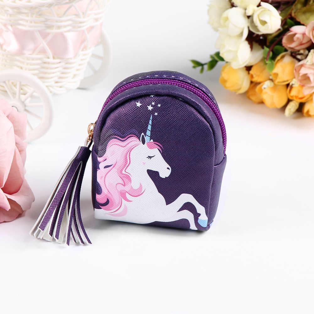 Kawaii Unicorn Hayvan bozuk para cüzdanı Kadın Mini Cüzdan PU Deri Püskül Tuşları Kılıfı Fermuarlı Saklama Organizatör Çantası Kız Için En Iyi Hediye