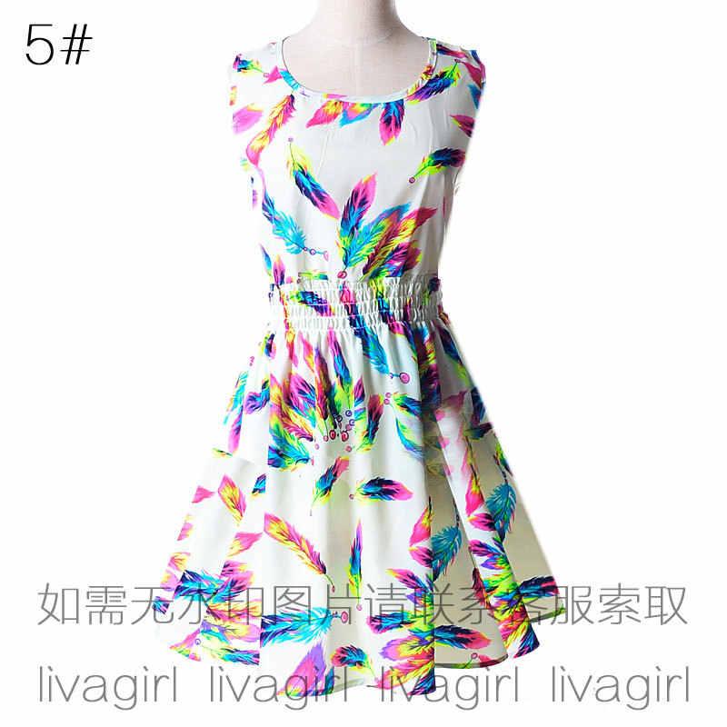 Vrouwen jurken 2019 zomer stijl grote werven mouwloos vest afdrukken bloemen chiffon mini jurken vestidos goedkope kleding HJY1138