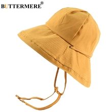 BUTTERMERE Yellow Bucket Hat Female Cotton Folding Sun Summer Woman Solid Lace Up Fisherman Wide Brim Ladies Fashion Bob Cap