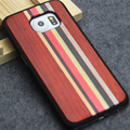 Wooden Product For Samsung Galaxy S6 Edge Case Wood Bamboo Cover with Mixing Color Real Wood + Plastic Black Case