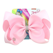 цена на 8 Inch Baby Girls Bows Hair Accessories 12 Color Solid Grosgrain Ribbon Hair Clip Polyester Hairpins Head Dress For Kid Dropship