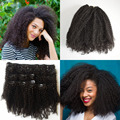 2016 nueva moda clip en extensiones de cabello humano 7 unids/set natural negro pelo humano virginal brasileño afro rizado rizado clip ins