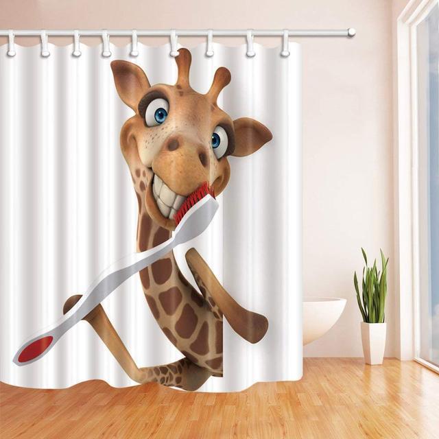 Buongiorno giraffa con Spazzolino Da Denti Tenda Della Doccia e Zerbino Set, Decorazione Della Casa di Peluche Tessuto Impermeabile Tenda Della Stanza Da Bagno