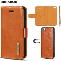DG MING 2 In 1 Luxury Genuine Leather Detachable Flip Wallet Case For IPhone 5 5S