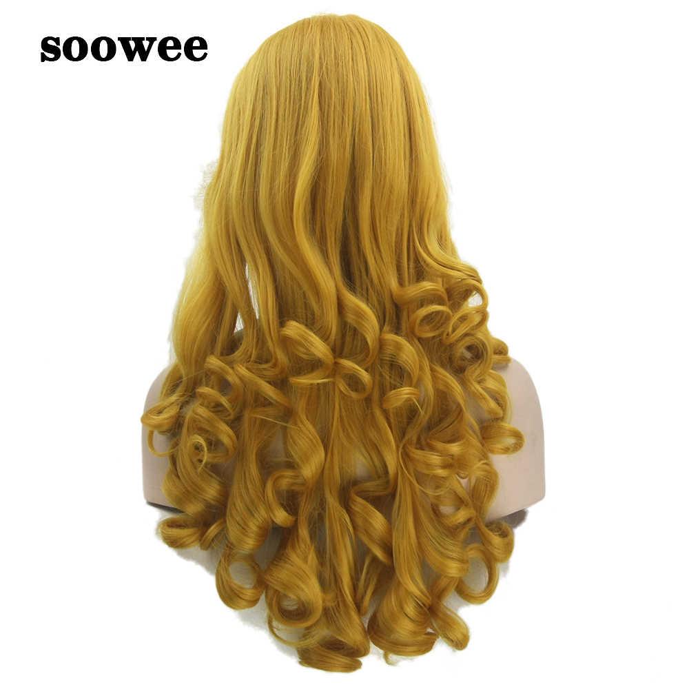 Soowee 70cm Lange Lockige Synthetische Haar Gelb Goldene frauen Perücke Dornröschen Cosplay Perücke Haarteil Haar Perücken- weibliche